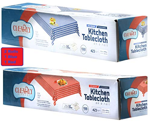 (2 Rolls Plastic Disposable Vinyl Blue Gingham & Red Gingham Checkered Tablecloth Roll for Picnic, Party Lunch, Dinner (2 Rolls))