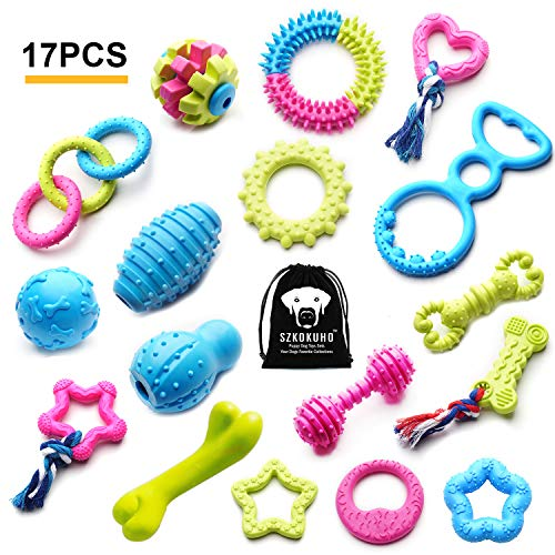 - SZKOKUHO 17 Packs Durable Pet Puppy Dog Chew Toys Set Puppy Teething Ball Toys Puppy Rope Dog Tug Toy Safety Design