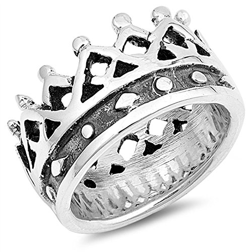 Sterling Silver New King - Wide Large King Crown Wholesale Ring New .925 Sterling Silver Band Size 7
