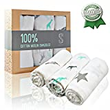 Muslin Swaddle Blanket 100% Organic Cotton Ultra Soft - Unisex Baby Swaddles - For Newborn Boys And Girls - Perfect Baby Shower Gift - White Swaddle Blanket Nursery + Covering Guide + Bonus eBook