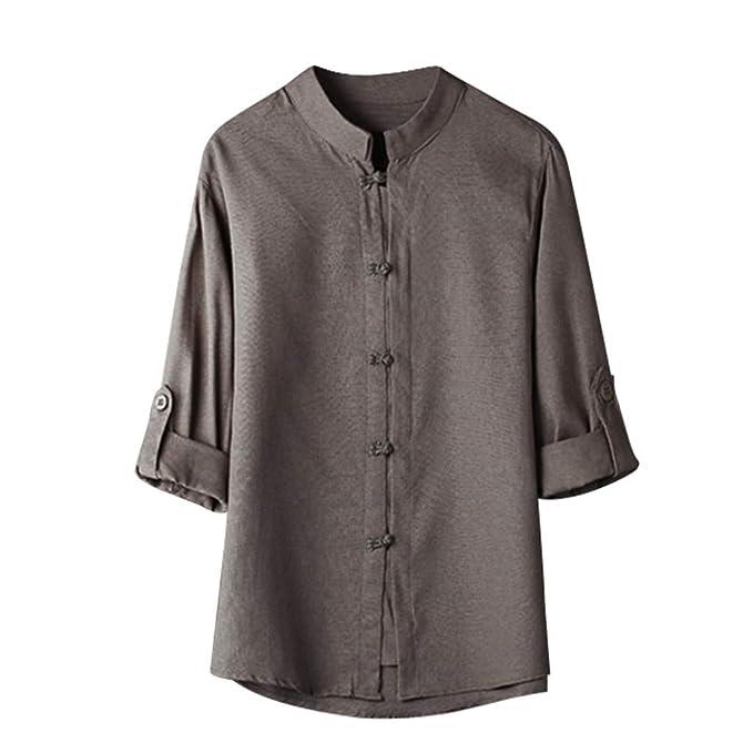 Amazon.com: Camisas para hombre estilo vintage chino clásico ...