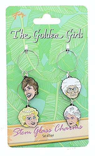 Golden Girls Wine Glass Charms - Set of 4 - Beverage And Drinking Accessories - Novelty Kitchen Cup Accessory - Fun And Unique Gift For Birthdays, Holidays, Bachelor And Bachelorette Parties -