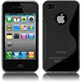 MY WAY iPhone4 / 4S ケース TPU グリップ カバー ( アイフォン 4 docomo au Softbank SIMフリー 対応 ) 薄型 軽量 / 滑止め / ソフト フィット 【Design S Black (黒)】