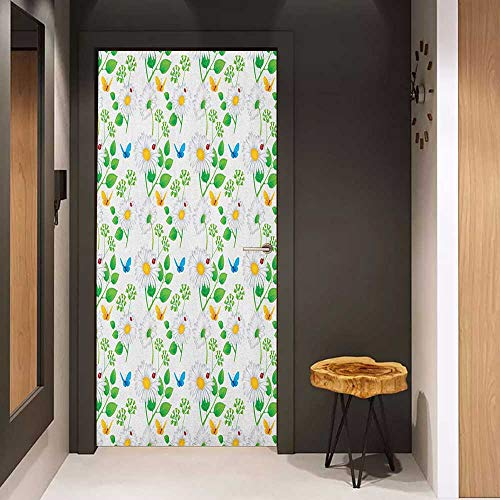 Onefzc Soliciting Sticker for Door Ladybugs Macro Chamomiles and Ladybugs Illustration Playful Magic Spirits of The Nature Mural Wallpaper W23.6 x H78.7 White Green