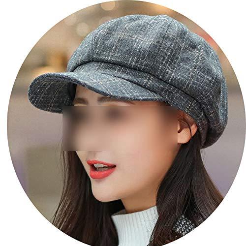 秋冬 八角形のキャップ ベレー帽子のピークキャップ 女性男性,グレー
