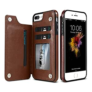 For iPhone 7 Vertical Flip Card Holder Leather Phone Case for iPhone 8-Brown