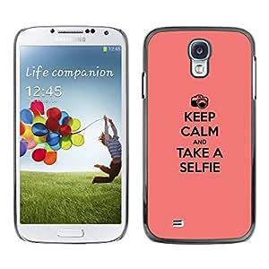 SAMSUNG Galaxy S4 IV / i9500 / i9515 / i9505G / SGH-i337 , Radio-Star - Cáscara Funda Case Caso De Plástico (Keep Calm & Selfie)