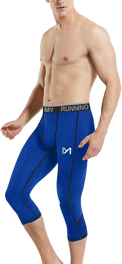 Men 3//4 Cropped Pants Compression Shorts Gym Clothes Base Layers Running Tights
