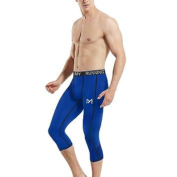 MEETYOO Leggings Hombre, Pantalón de Compresión Secado Rápido Pantalones 3/4 Medias Deportes para Running Fitness Yoga