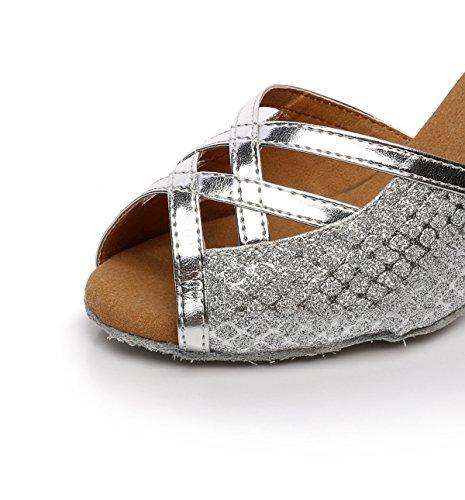 JSHOE Chaussures De Danse Pour Femmes Latin Salsa/Tango/Thé/Samba/Moderne/Jazz Chaussures Sandales Talons Hauts,Silver-heeled5cm-UK2.5/EU32/Our33
