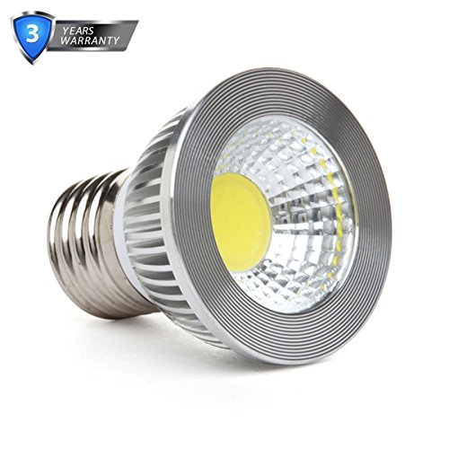 "GOOLSUN 5-watt PAR16/HR16 LED COB Flood Bulb, 4000K Natural White, Dimmable, 90° Beam Spread, 50-watt Equivalent, 500 lumens, CRI 80+, Short Neck, AC 120V, E26 Medium Base, 2.2"" Length"