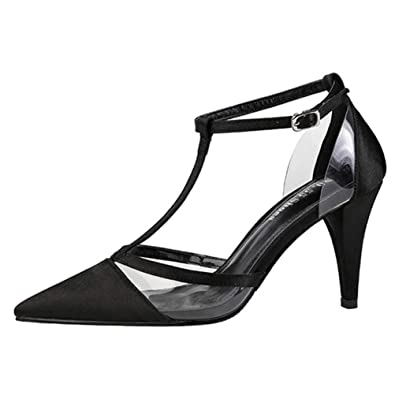 a82646fceb9525 Escarpin Mode Femmes Chaussures Talons Hauts Aiguilles Sandales Satin  Transparent OL Salomé Bride Cheville Pompes Chaussure