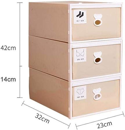 SXCYU Caja de Almacenamiento de plástico japonés de Tres Piezas Cajón Caja de Almacenamiento de Ropa Interior Corbata Calcetines Ropa Organizador Contenedor, Amarillo Claro: Amazon.es: Hogar