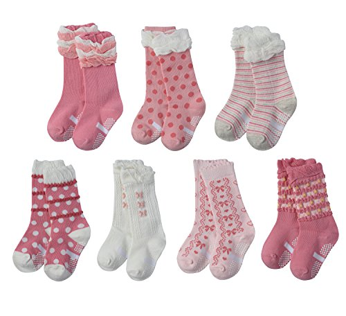 Price comparison product image Alva Edison 7-Pack Pink Jacquard Lace Stockings Over-the-Calf Socks for Little Girls, Toddler Girls [Non-Skid Baby Girls Socks (Anti-Slip )] (6-10Y Kid, Sole19-23cm)