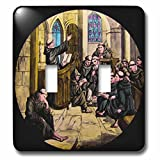 Scenes from the Past Magic Lantern - Vintage Medieval Friars in Cathedral Christianity Magic Lantern Slide - Light Switch Covers - double toggle switch (lsp_246067_2)