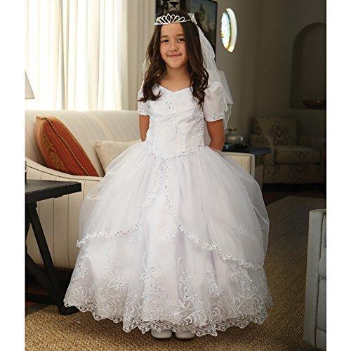 - Angels Garment Big Girls White Embroidered Organza Communion Dress 10