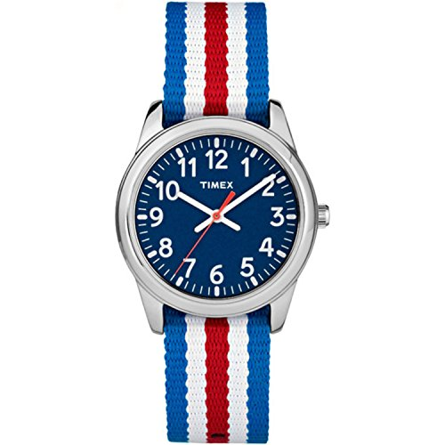 - Timex Boys TW7C09900 Time Machines Metal Red/White/Blue Stripes Nylon Strap Watch