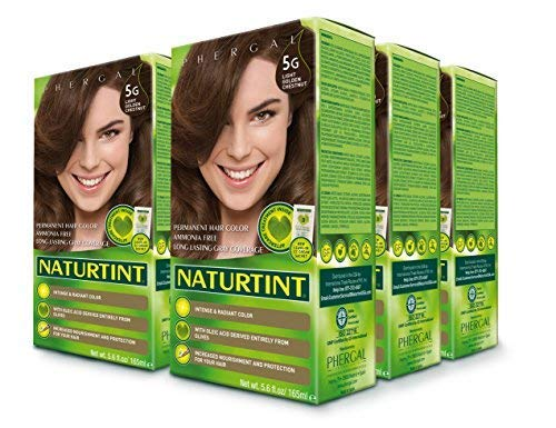 Naturtint Permanent Hair Color - 5G Light Golden Chestnut, 5.6 fl oz (6-pack) (Dark Brown Hair Color Without Red Tones)