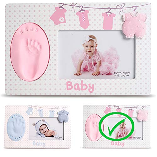 Baby Handprint & Footprint Photo Frame Kit - Premium Casting No Mold Clay - Boy Girls Baby Shower Gifts - Newborn Keepsake Personalized Picture Frames - Wall/Table - Free Stamp Set- Pink