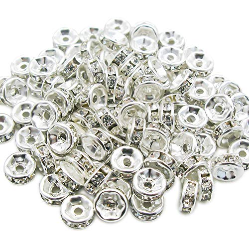 (TOAOB 100pcs Silver Plated Crystal Rondelle Spacer Beads 6mm for Jewelry Making)