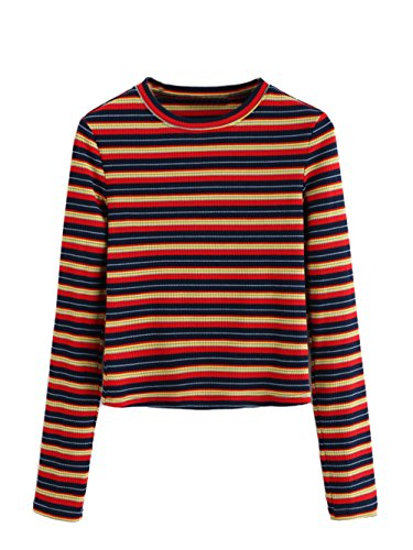 Milumia Women's Casual Striped Ribbed Tee Knit Crop Top Large A-Multi]()
