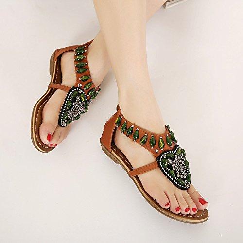 Zapatos playa zapatos National Student Roma viento del dedo del pie del clip del talón de playa Brown