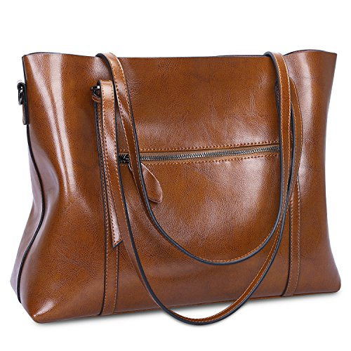 S-ZONE Women Genuine Leather Top Handle Satchel Daily Work Tote Shoulder Bag Large Capacity (Dark Brown) by S-ZONE (Image #2)