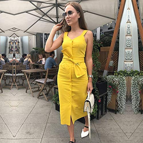 Uefaof Women Sleeveless Little V Neck Bodycon Maxi Dress Button Holiday Party Dress with Belt Yellow