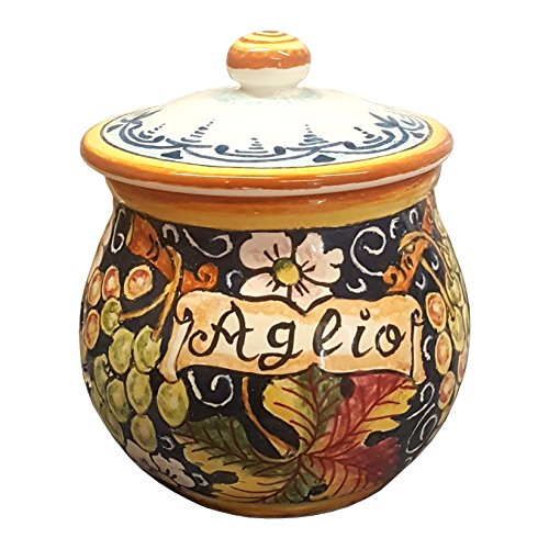Grape Border Flat (CERAMICHE D'ARTE PARRINI- Italian Ceramic Garlic Brings Jar Holder Hand Painted Made in ITALY Decorated Grape Tuscan Art Pottery)