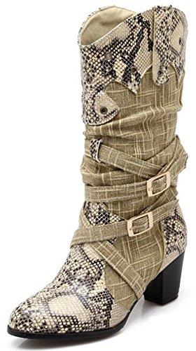 Idifu Donna Elegante Fibbia Stampa Fibbia A Metà Tacchi Pesanti Tira Su Stivali Da Equitazione A Metà Polpaccio Beige