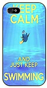 iPhone 6 Blue fish. Keep calm and just keep swimming - black plastic case / Inspirational and motivational by SHURELOCK TM by ruishername