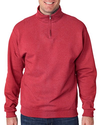 JERZEES Adult NuBlend(r) Quarter-Zip Cadet-Collar Sweatshirt>L Vintage Heather Red (Golf Vintage Sweatshirt)