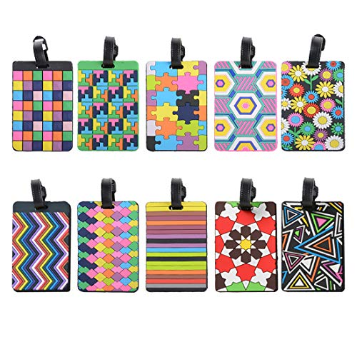 MerryNine Luggage Tags, Cool Luggage Tags, Bright Color Mosaic Pattern Durable Tag ID Holder for Suitcase, Set of 10 (10 Color Mixed)