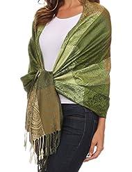 Sakkas CHS1611 - Avril colorful allover Paisley Pashmina/ Shawl/ Wrap/ Stole - 2-Olive - OS