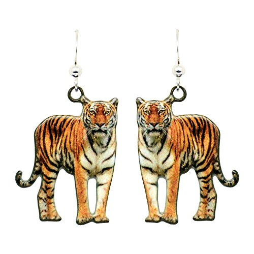 Tiger Earrings by d'ears Non-Tarnish Sterling Silver French Hook Ear Wire