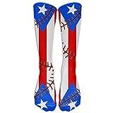 Style Unisex Socks Casual Knee High Stockings Puerto Rico Flag Baseball Cotton Socks One Size