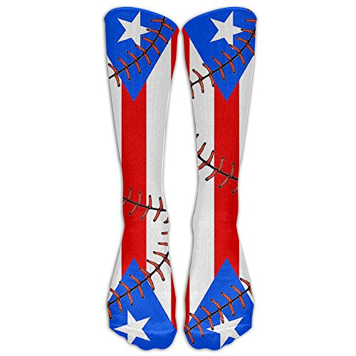 Style Unisex Socks Casual Knee High Stockings Puerto Rico Flag Baseball Cotton Socks One Size by Elian