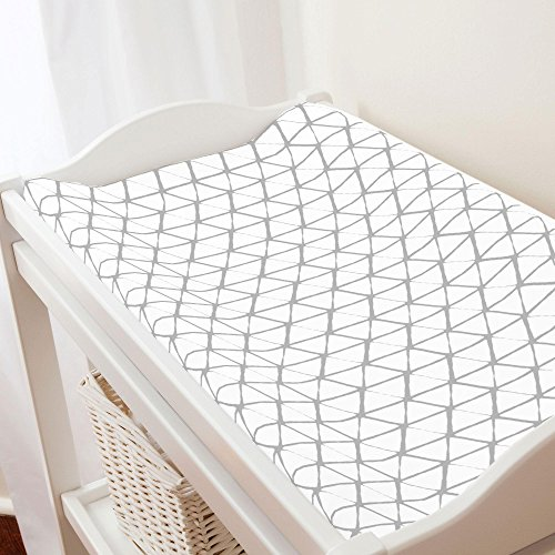 (Carousel Designs White and Silver Gray Aztec Triangles Changing Pad Cover - Organic 100% Cotton Change Pad Cover - Made in The USA)