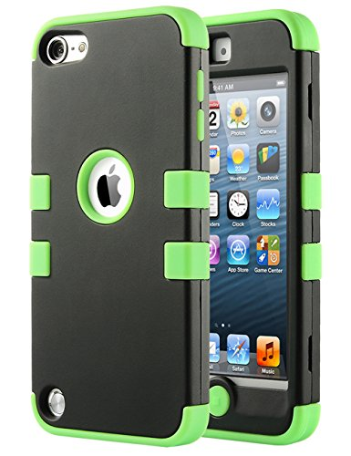 iPod Touch 6 Case,iPod 6 Cases,ULAK [Colorful Series] 3 in 1 Anti-slip iPod 5 Case Hybrid Dust Scratch Shock Resistance Hard PC+Soft Silicone Cover for iPod touch 5 6th Generation(Green)