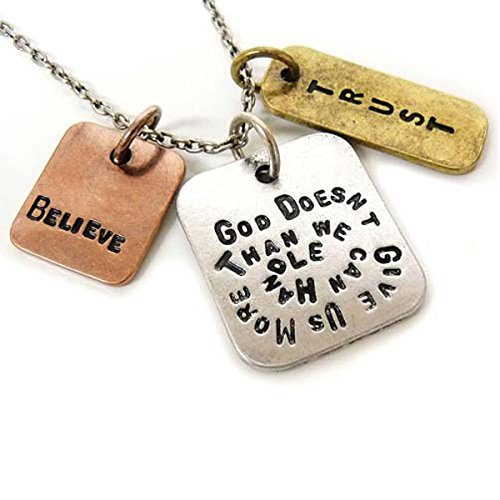 Womens Pendant Necklace 'God Doesn't Give Us More Than We Can Handle' - Three Tone Antique, Stamped Charm Pendant With Religious Symbols - Authentic Inspirational Message Guaranteed To Give You Strength To Accomplish Anything - Great Sports Fan Pendant Gift