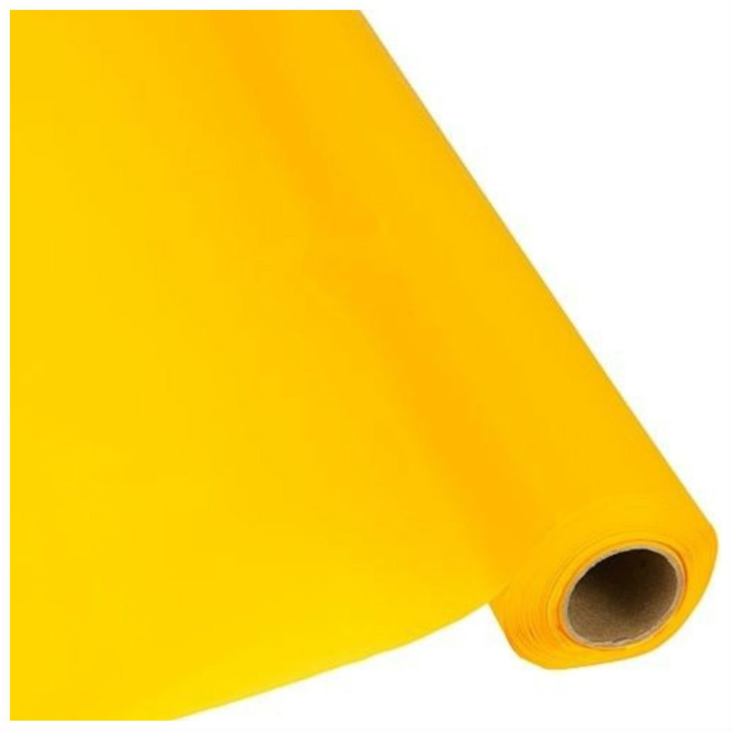 Plastic Banquet Party Table Cover Roll - 40'' x 300 Feet - Disposable Tablecloths (HARVEST YELLOW)