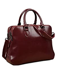 "Yaluxe Women's Double Zipper Genuine Leather Tote Office Lady Top Handle Cross Body Shoulder Bag fit 13"" Laptop Red"
