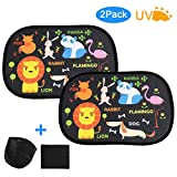 LEADSTAR Car Window Shade for Kids, 2 Pcs Car Sun Shade for Baby, Translucent Sun Visor for Kids, Baby, Car Window Blinds Universal Glare & UV Protection - with Storage Bag & Handkerchief (Black)