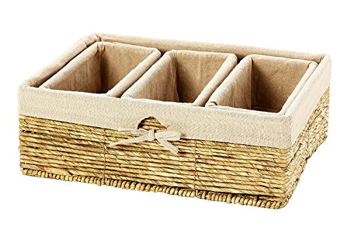 Basket Shelf Wicker (Storage Basket - 4-Piece Nesting Baskets, Beiger Storage Containers - Storage Bins Set - Wicker Corn Rope Decorative Organizing Baskets for Shelves, Magazines, Books, Toys - 3 Small, 1 Large)