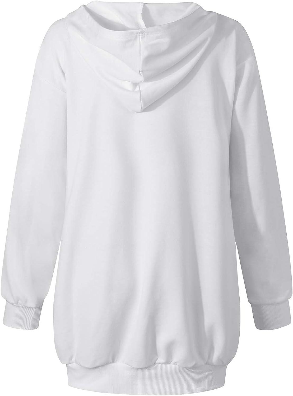 Auxo Femme Sweat-Shirt Longue Sweat /à Capuche Casual Manches Longues Sweat Couleur Unie Sport Chic Ample Haut Printemps Garnde Taille avec Poche 02-Blanc S