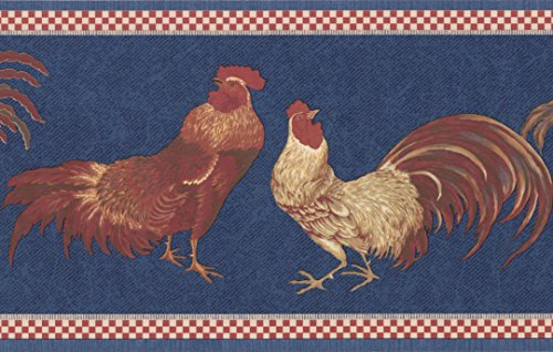 Red Rooster Border (Beige Red Rooster Blue Wallpaper Border Retro Design, Roll 15' x 7'')