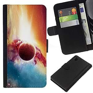 // PHONE CASE GIFT // Moda Estuche Funda de Cuero Billetera Tarjeta de crédito dinero bolsa Cubierta de proteccion Caso Sony Xperia Z1 L39 / Planet Galaxy /