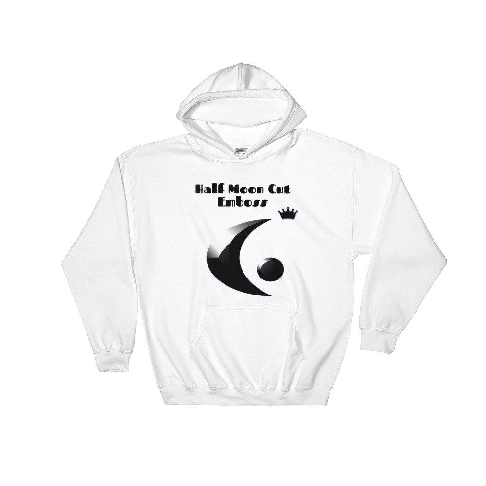 Hollywood2000 2D /& 3D Designs Half Moon Cut Emboss Hooded Sweatshirt
