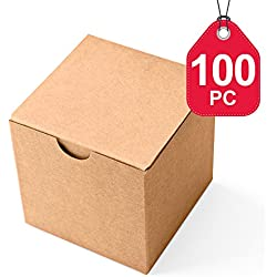 MESHA Kraft Boxes 100 Pack 3X 3 x 3 inches, Brown Paper Gift Boxes with Lids for Gifts, Crafting, Cupcake Boxes
