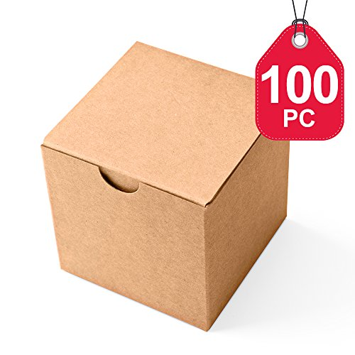 MESHA Kraft Boxes 100 Pack 3x 3 x 3 Inches, Brown Cardboard Gift Boxes with Lids for Gifts, Crafting, Cupcake (Cute Cupcake Boxes)